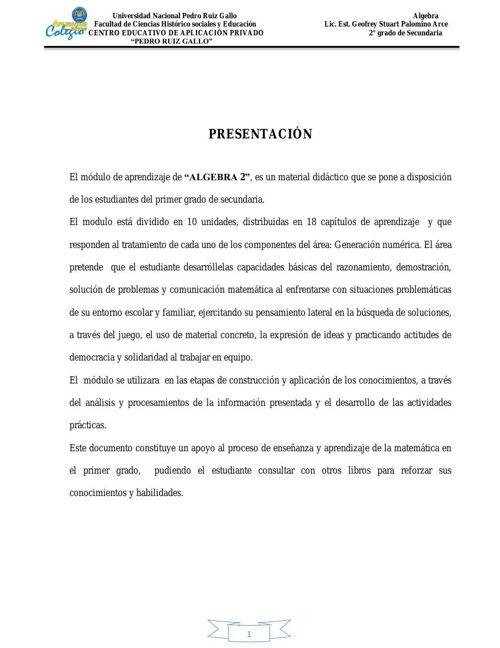 Módulo Algebra 2do Secundaria By Cesar Palacios Flipsnack
