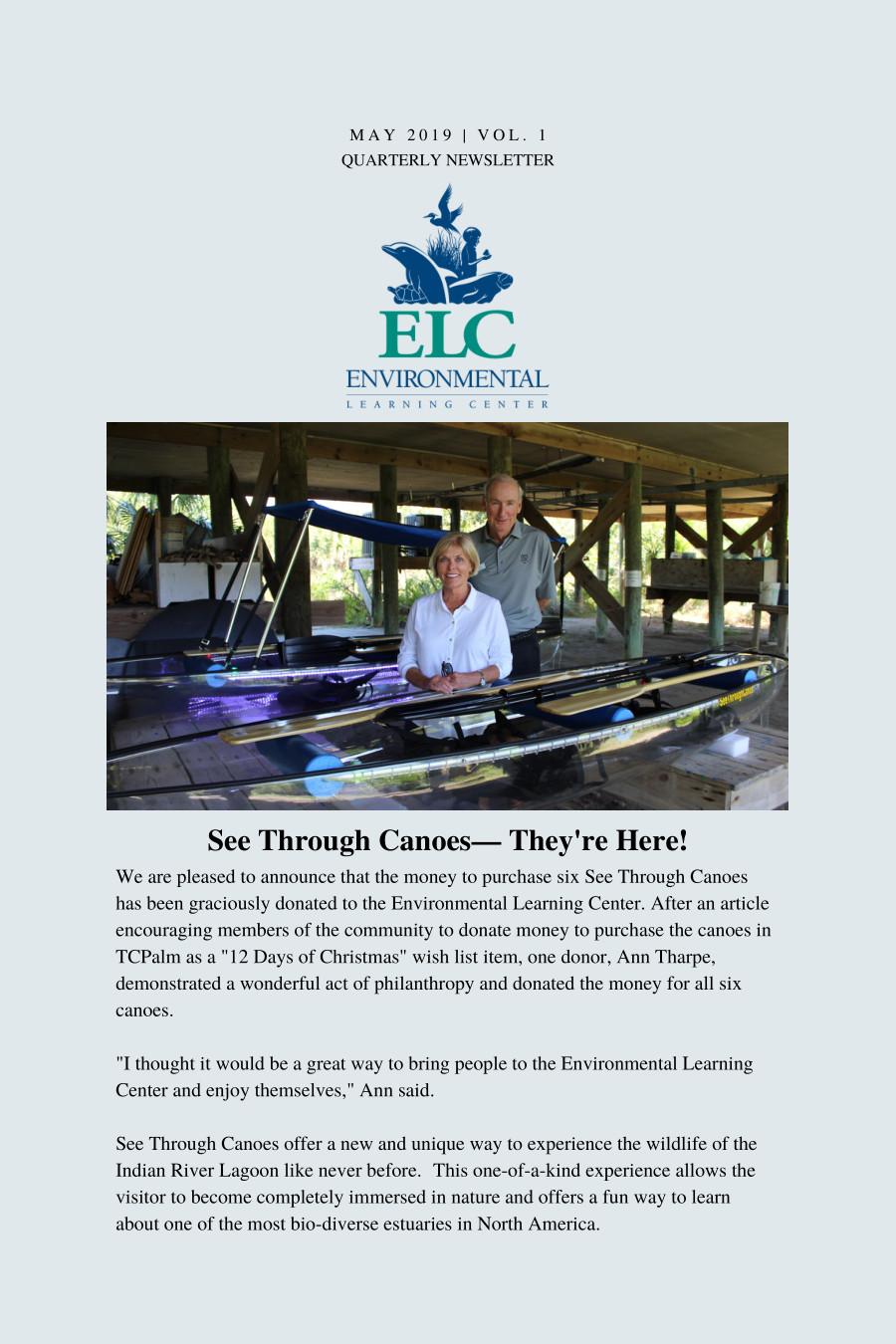 c91ae0adda683 Newsletter - Environmental Learning Center