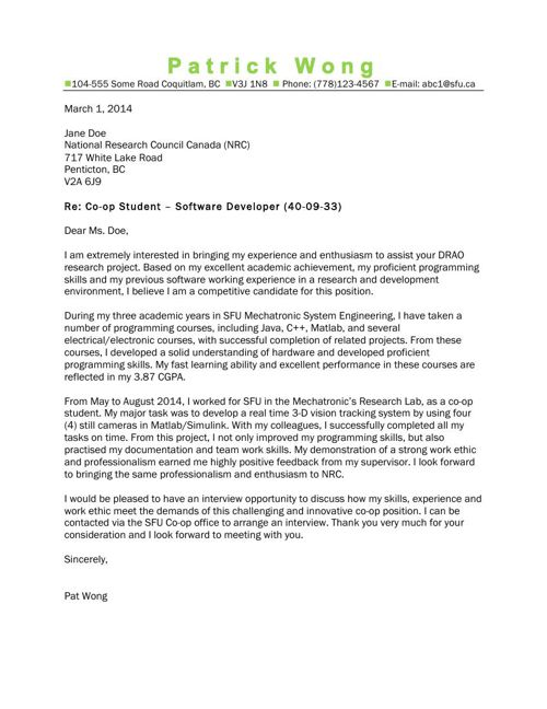 Cover Letter Gallery (MECHATRONIC SYSTEMS ENGINEERING by SFU ...