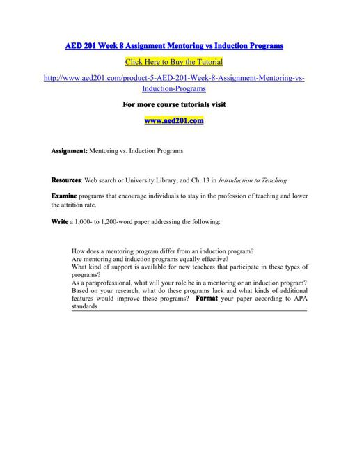 AED 201 Week 8 Assignment Mentoring vs Induction Programs by