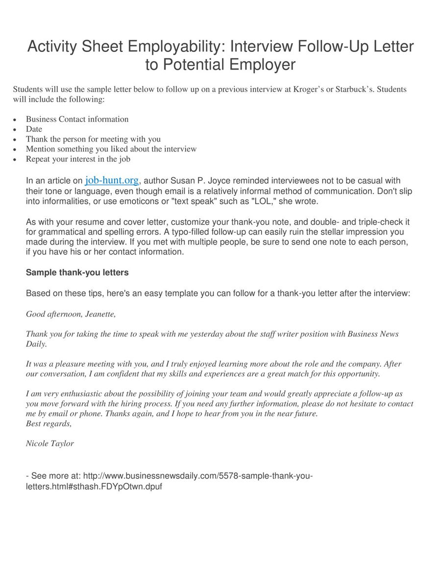Activity Sheet Employability Interview Follow Up Letter Period 3 By