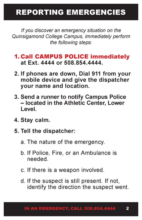 Emergency Guide Information Quinsigamond Community College Qcc