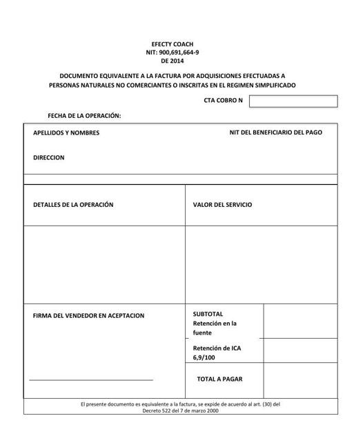 formato factura equivalente by efectycoach flipsnack
