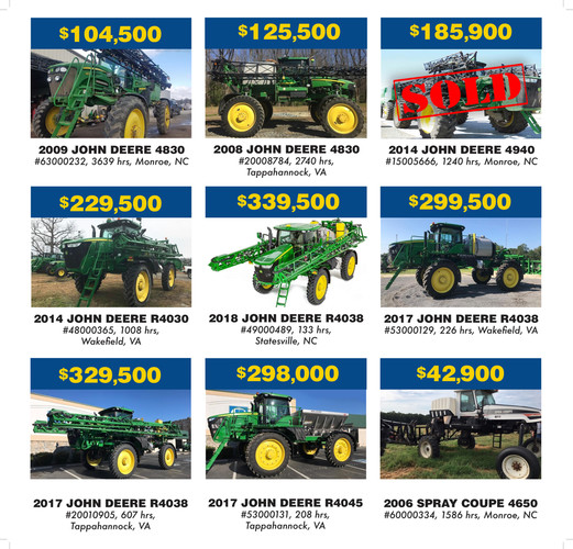 Used Sprayer Clearance Specials - James River Equipment