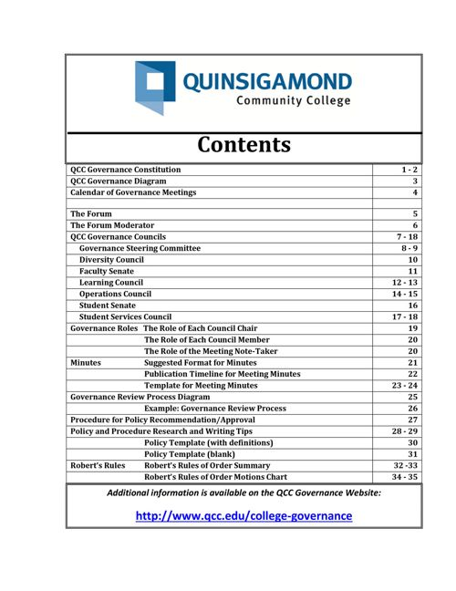 Qcc Academic Calendar.Guide To Governance Quinsigamond Community College Qcc