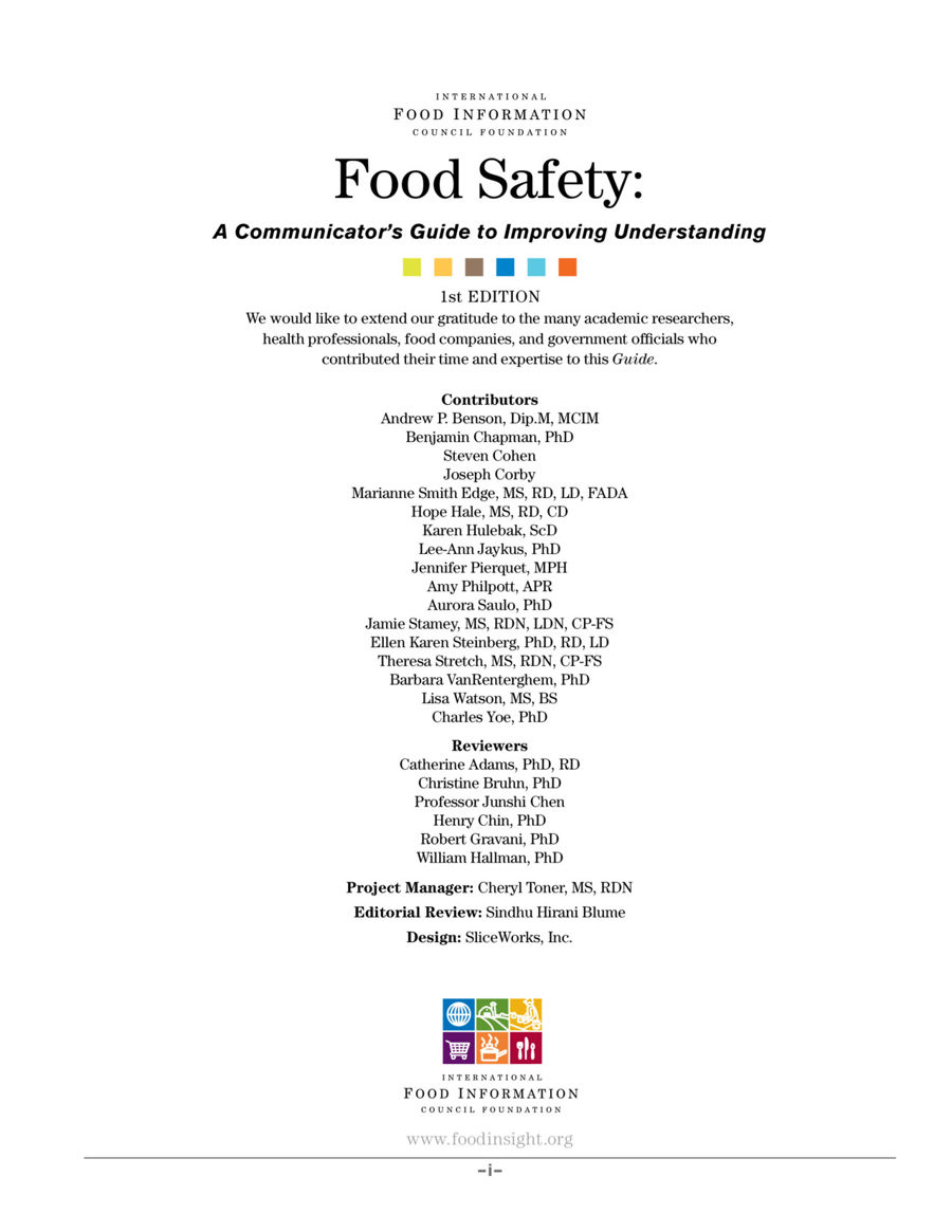 Food Safety A Communicators Guide To Improving Understanding