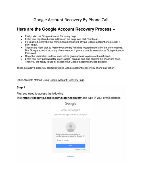 Google Account Recovery By Phone Call by Apple Safari