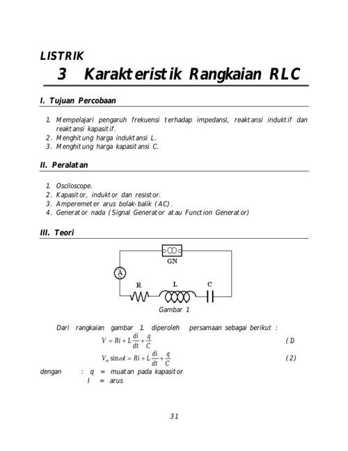L3 Karakteristik Rangkaian Rlc By Bondan Flipsnack