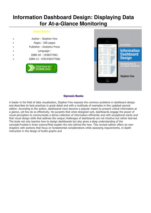 Pdf Download Information Dashboard Design Displaying Data For At A Glance Monitoring