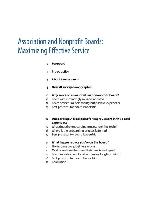 Association and nonprofit boards: Maximizing effective service