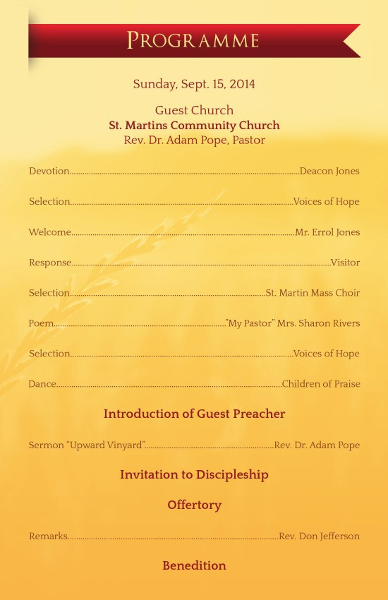 Pastor Anniversary Service Program Template by Michael Taylor ...