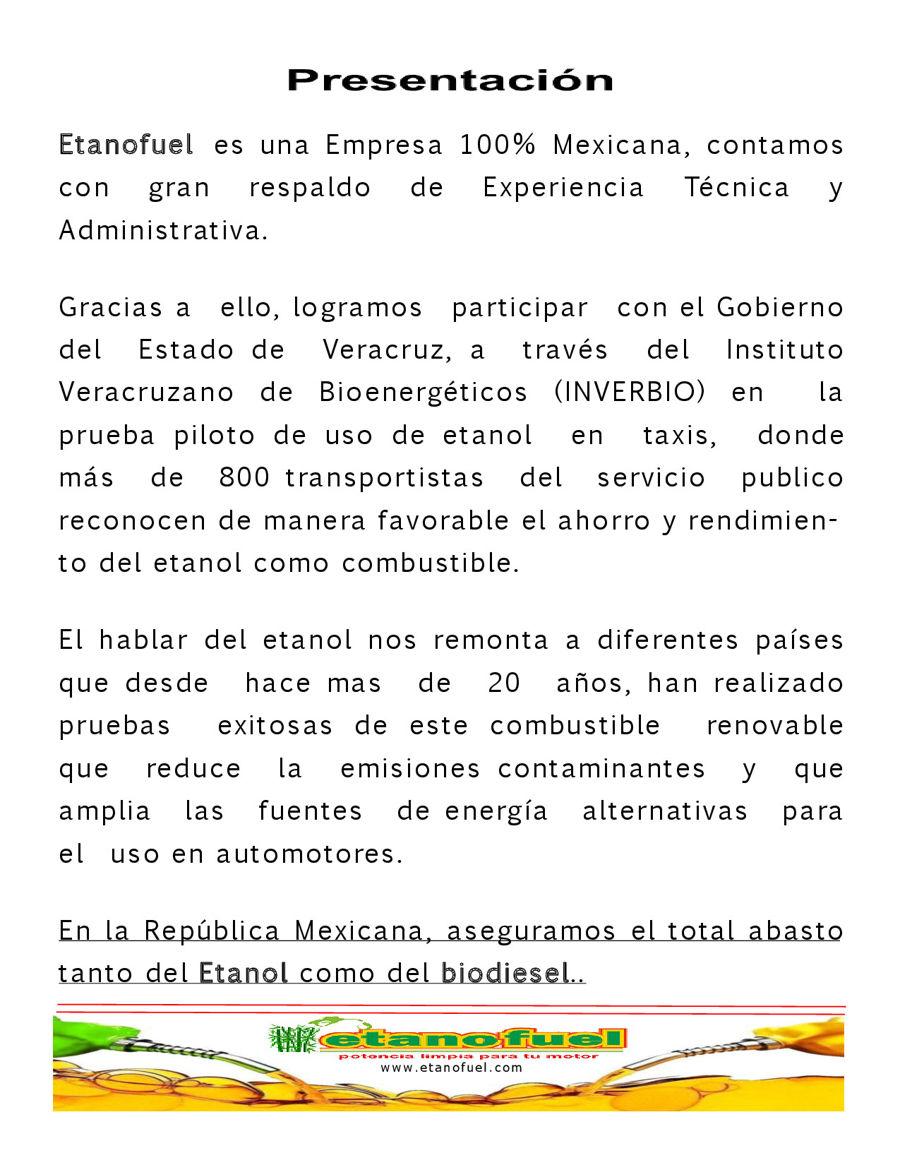 CARTA DE PRESENTACION ETANOFUEL by Franquicias... - Flipsnack