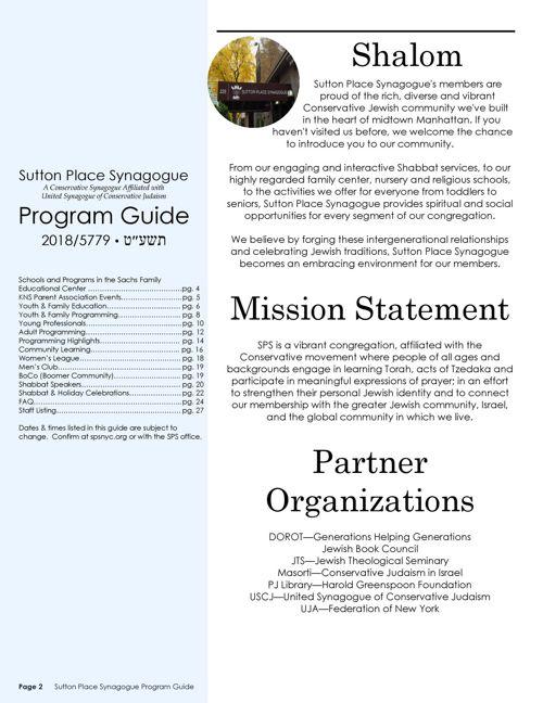 2018/2019 SPS Program Guide | Sutton Place Synagogue