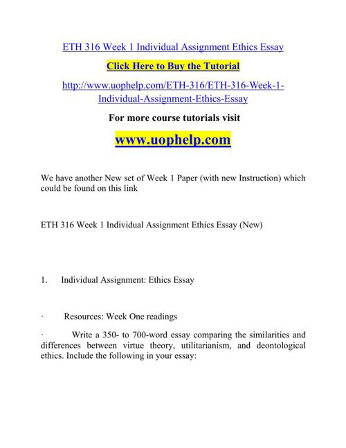 Eth  Week  Individual Assignment Ethics Essay By Osimanuraj  Eth  Week  Individual Assignment Ethics Essay By Osimanuraj   Flipsnack
