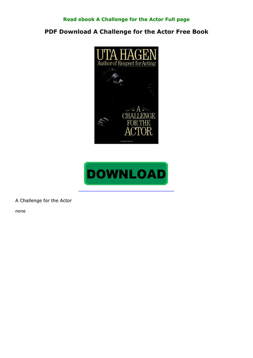 a challenge for the actor pdf free download