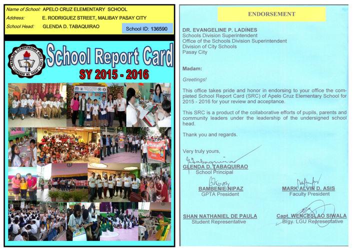 deped school report card 2018  SCHOOL REPORT CARD