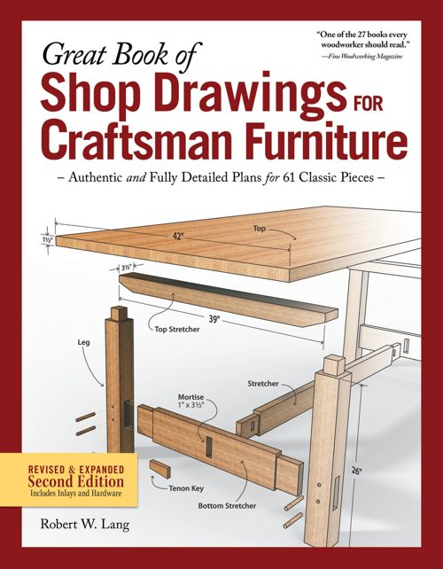 Great Book Of Shop Drawings For Craftsman Furniture Second Edition Hardcover