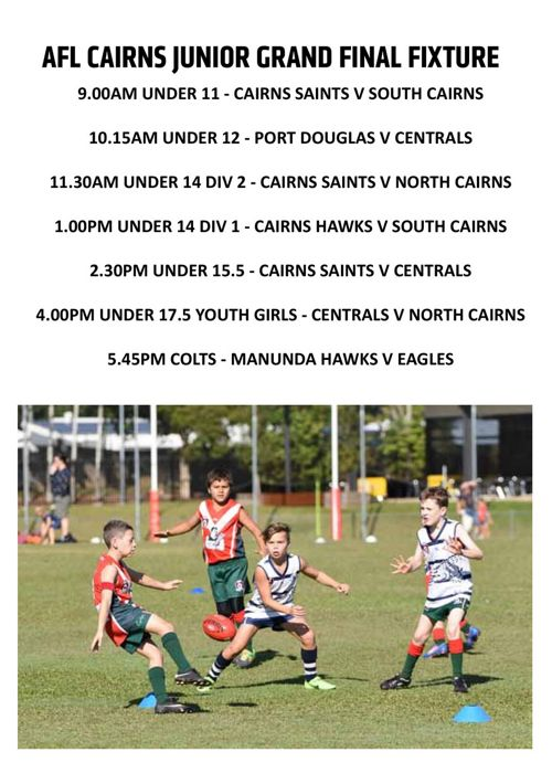 Juniors Grand Final Day Footy Record   AFL Cairns