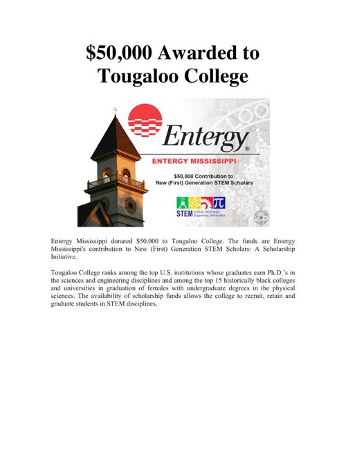 Entergy Mississippi donated $50,000 to Tougaloo College by