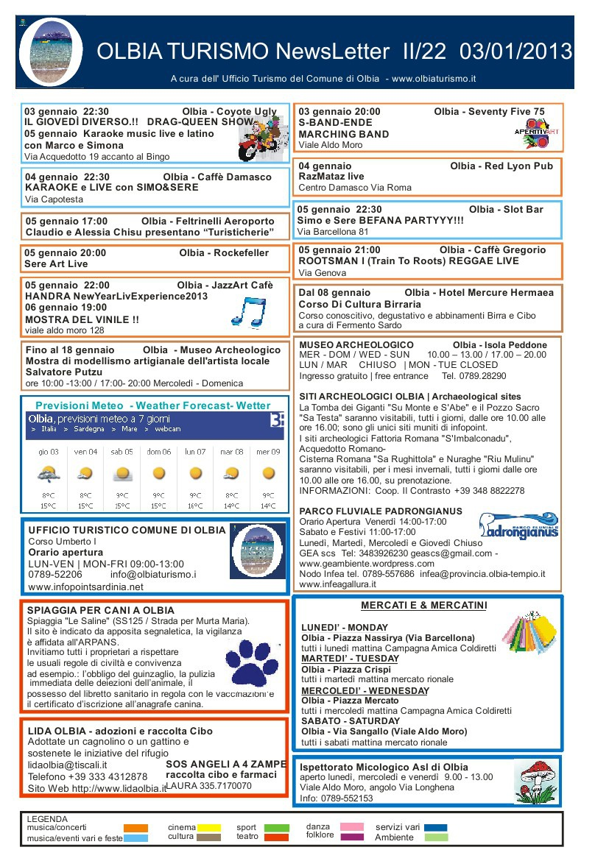 Newsletter OlbiaTurismo II/22 del 03/01/2013 by Turismo