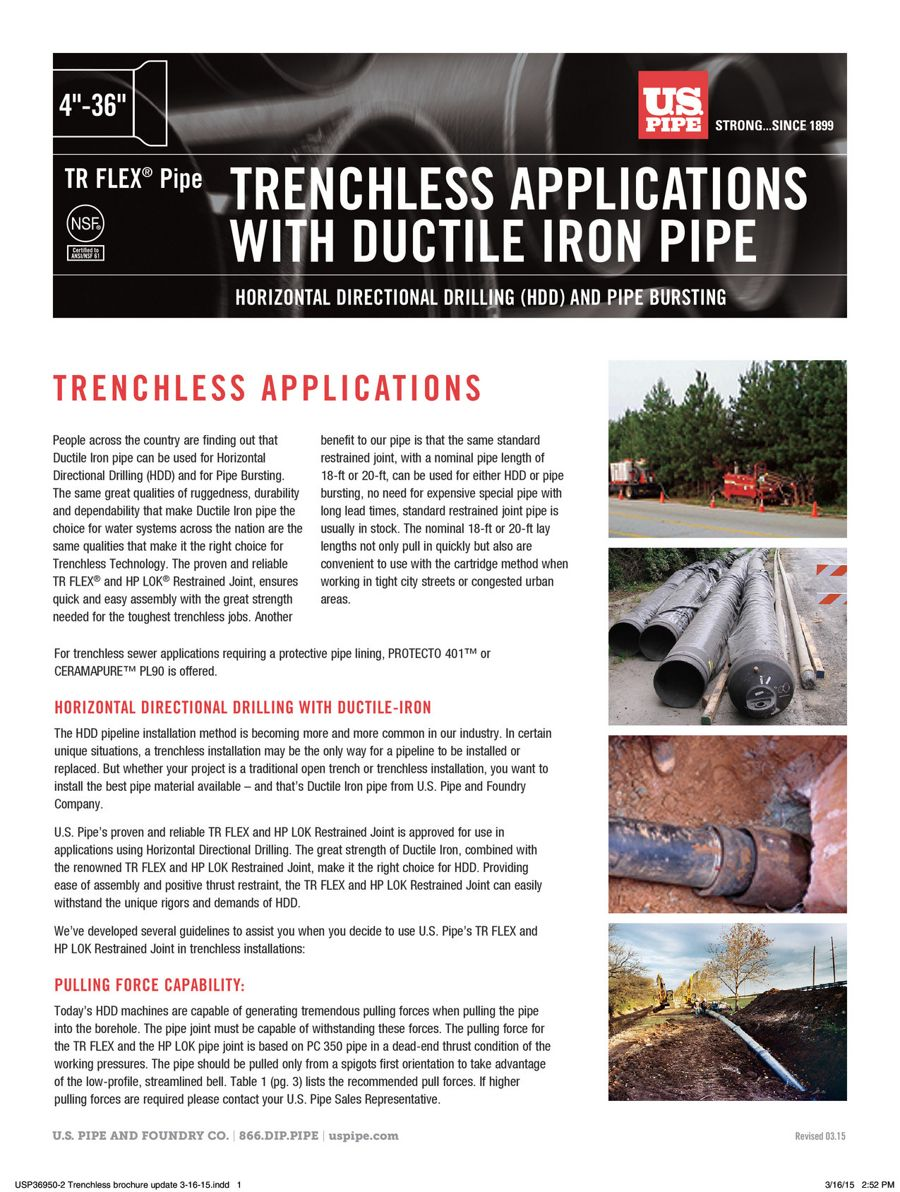 Trenchless Applications with Ductile Iron Pipe & Pulling Heads
