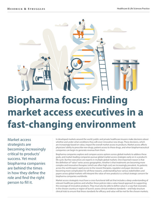 Biopharma Focus Finding Market Access Executives