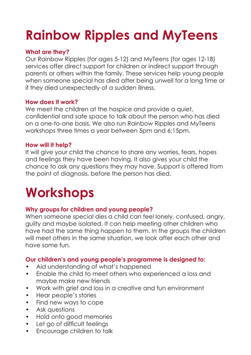 The Myton Hospices Helping Young People When Someone Dies by