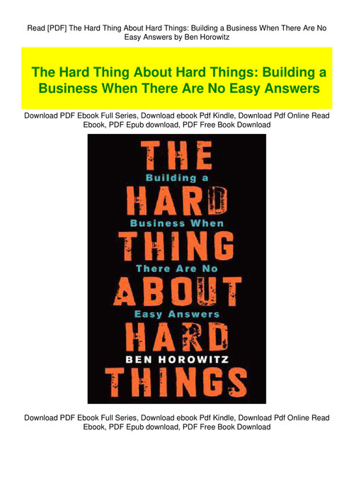 the hard thing about hard things pdf free