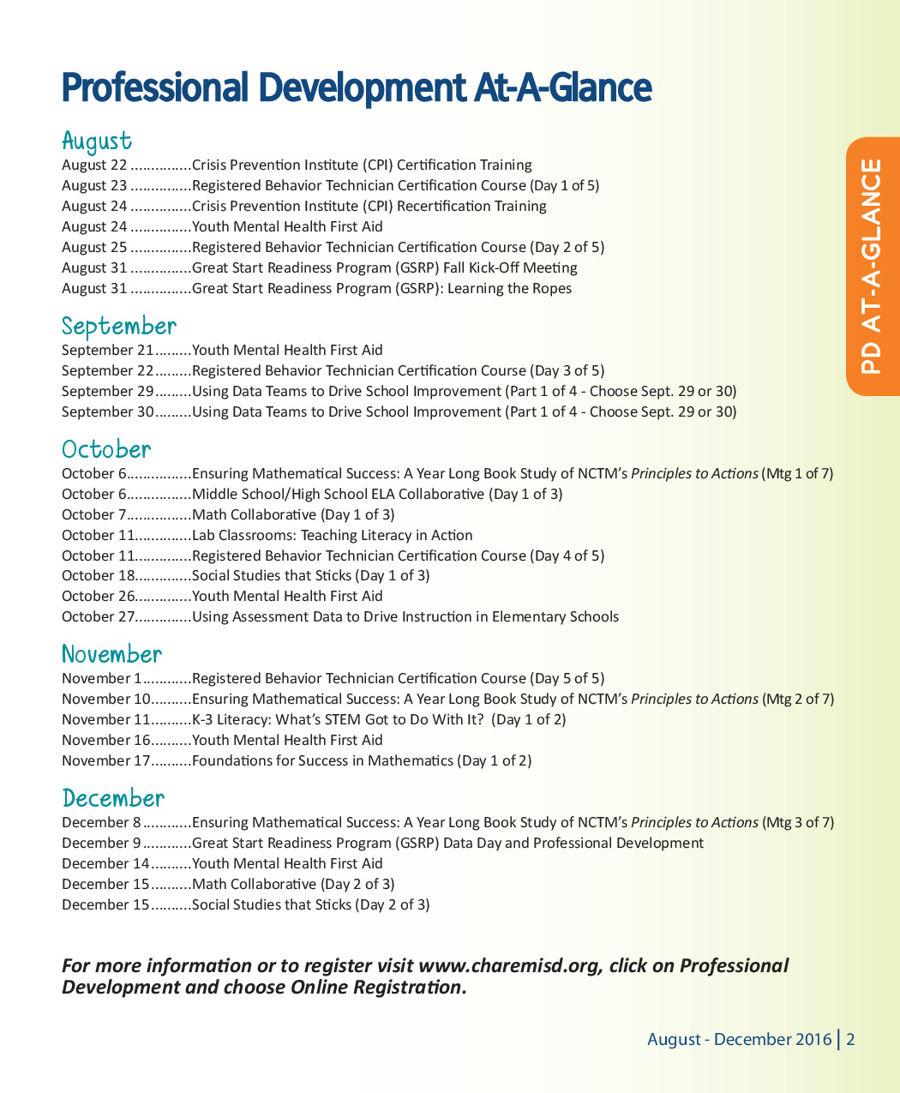 Char Em Isd Professional Development August December 2016 By