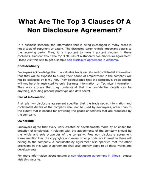 What Are The Top 3 Clauses Of A Non Disclosure Agreement By Carl