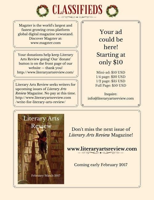 Literary Arts Review Magazine February/March 2017 – Literary