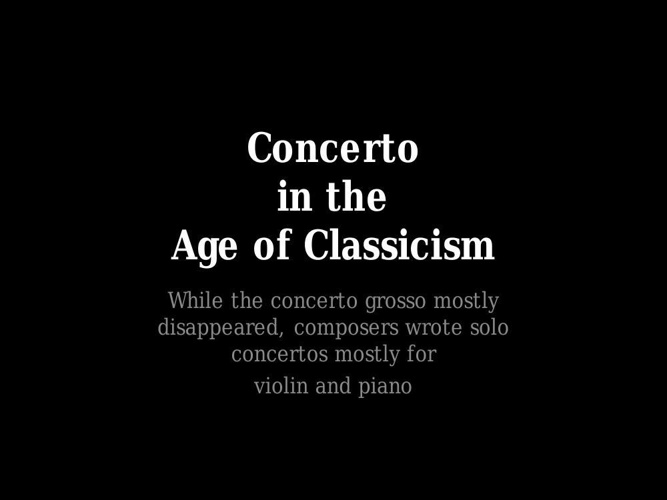 the age of classicism