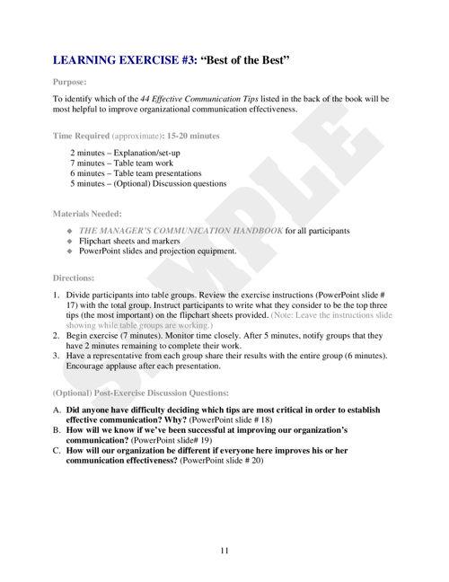 The Manager's Communication Handbook UTrain Program
