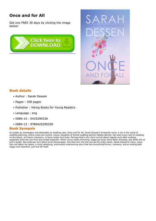 once and for all sarah dessen pdf free download