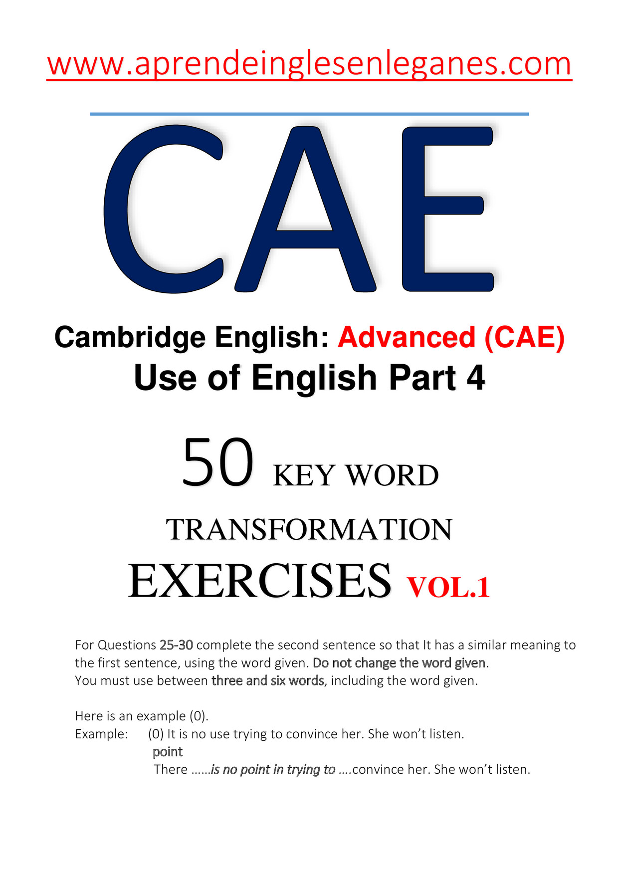 CAE- 50 KEY WORD TRANSFORMATION EXERCISES + ANSWERS vol 1 (Previ