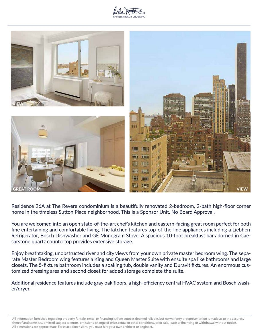 400 East 54th Street, 26A | RP Miller Realty Group