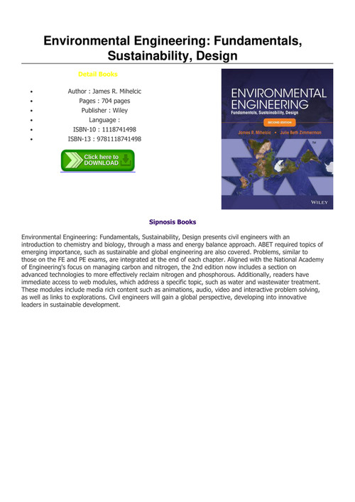 Read Pdf Environmental Engineering Fundamentals Sustainability Design By