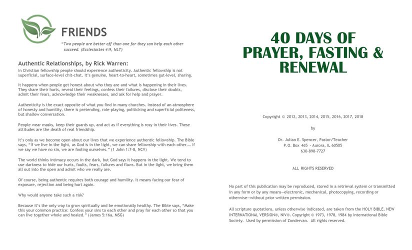 40 Days | Prayer Fasting & Renewal Guide 2018 by F68BB9EBDC9