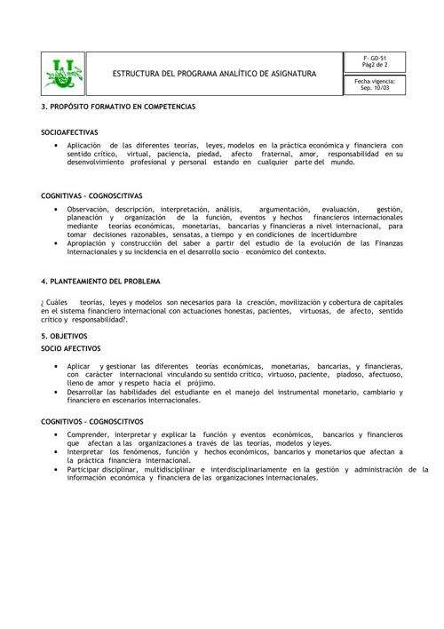 Programa Analitico Finanzas Internacionales By Jrodriguez101