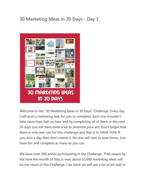 30 Marketing Ideas In 30 Days By Leslie Byrd Saeta Flipsnack