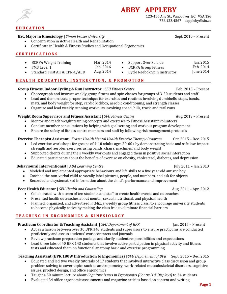 Resume Gallery (BPK - BIOMEDICAL, PHYSIOLOGY & KINESIOLOGY) by SFU ...