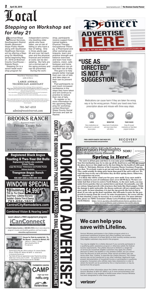 The Pioneer E-Edition for 4-26-19 · The Bowman Extra