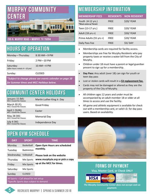 Mcc teen center calendar march — img 5