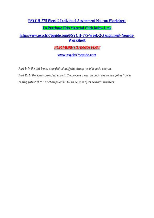 Psych 575 Week 2 Individual Assignment Neuron Worksheet By