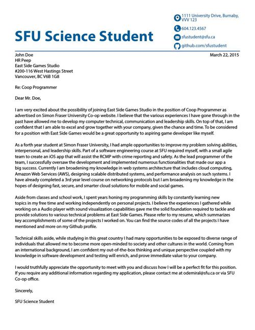 Cover Letter Gallery COMPUTING SCIENCE SOFTWARE SYSTEMS By SFU