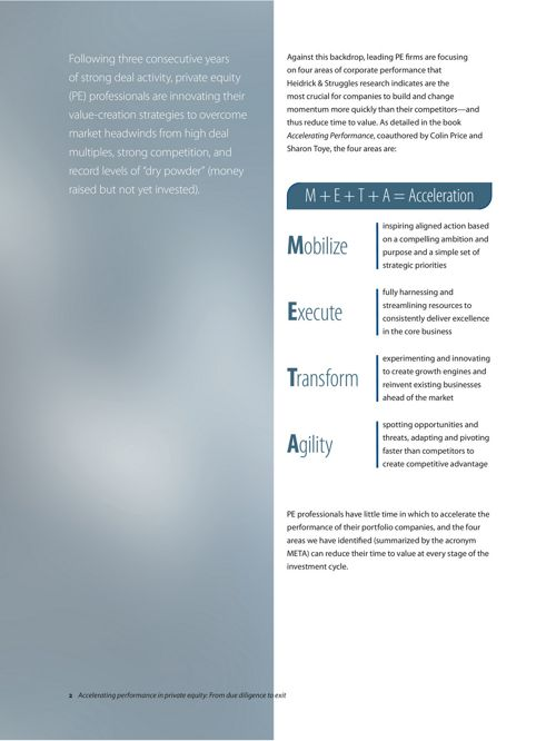 Accelerating performance in private equity: From due diligence to