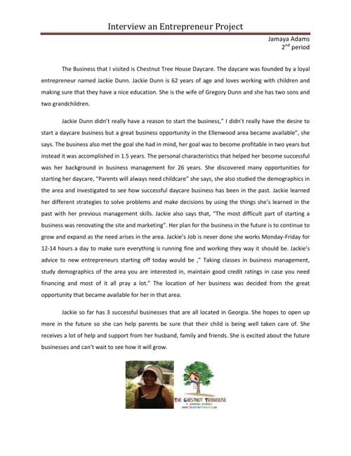 Interview an Entrepreneur Project by Jamaya Flipsnack