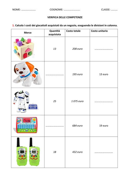 Verifiche Matematica Scuola Primaria 2017