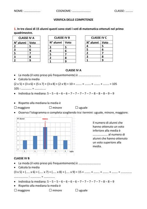 Verifiche Matematica Scuola Primaria Verifica Di Competenze Media
