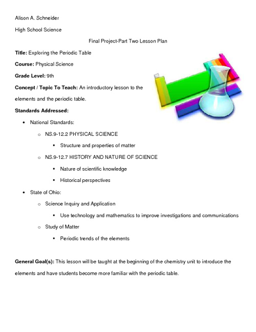 Periodic Table Lesson Plan Elcho Table